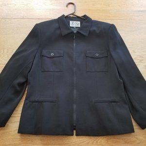 Le Suit Women's Black Full Zip Jacket Sz 16 EUC